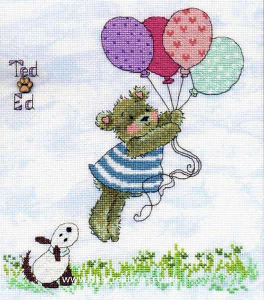 Ted & Ed Up Up And Away Margaret Sherry Cross Stitch Kit